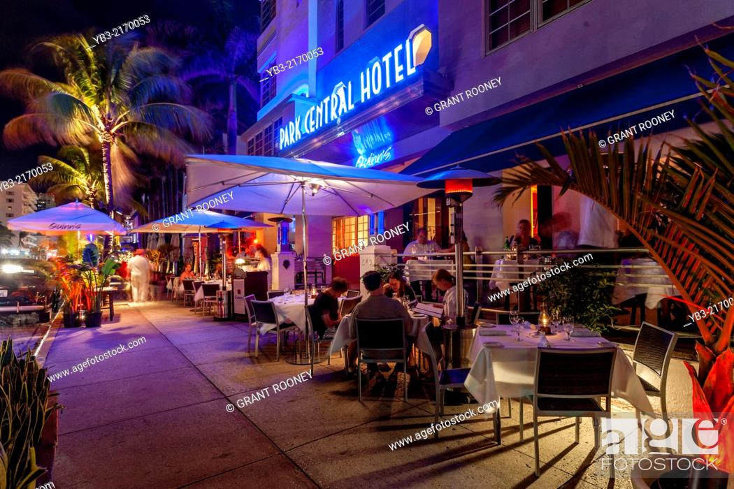 Stock Photo Park Central Hotel And Sidewalk Cafe Ocean Drive South Beach