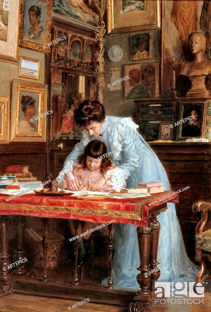 Stock Photo: Claude Georges - the Writing Lesson.