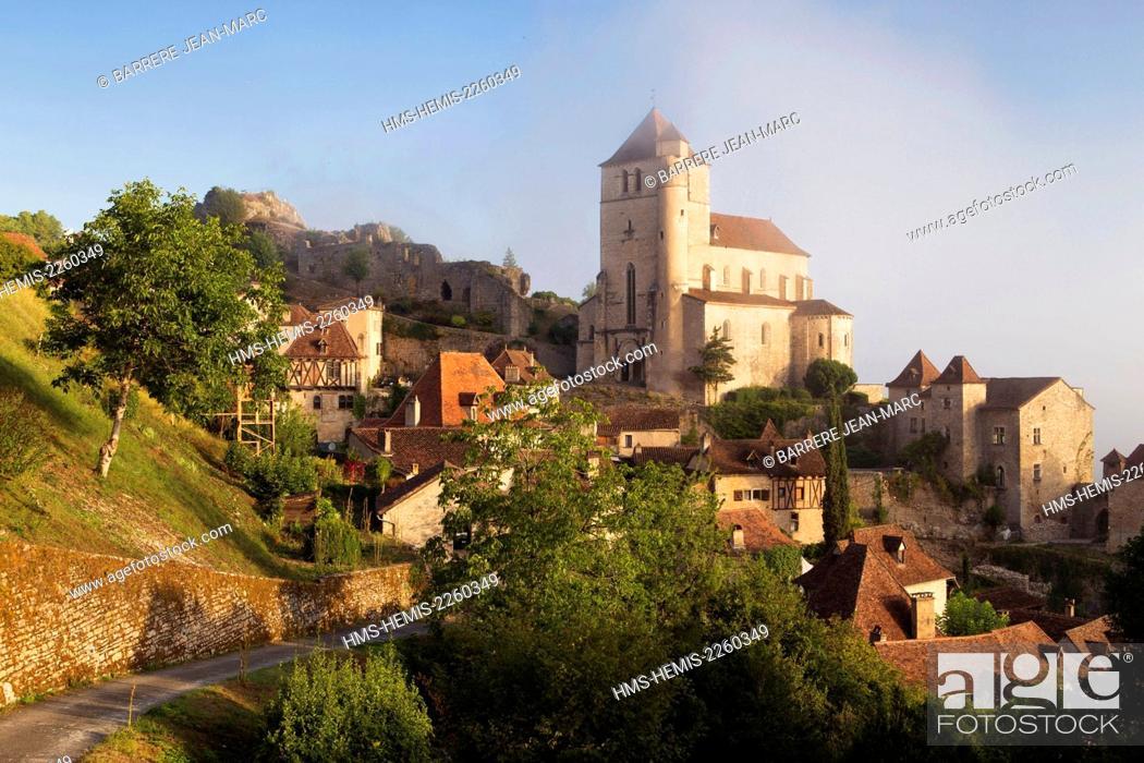 Stock Photo: France, Lot, Saint Cirq Lapopie, labelled Les Plus Beaux Villages de France (The Most Beautiful Villages of France).