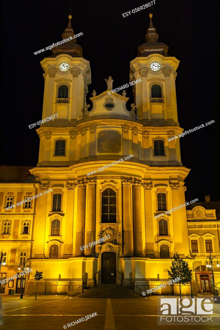 Stock Photo: Night time Eger in Hungary.
