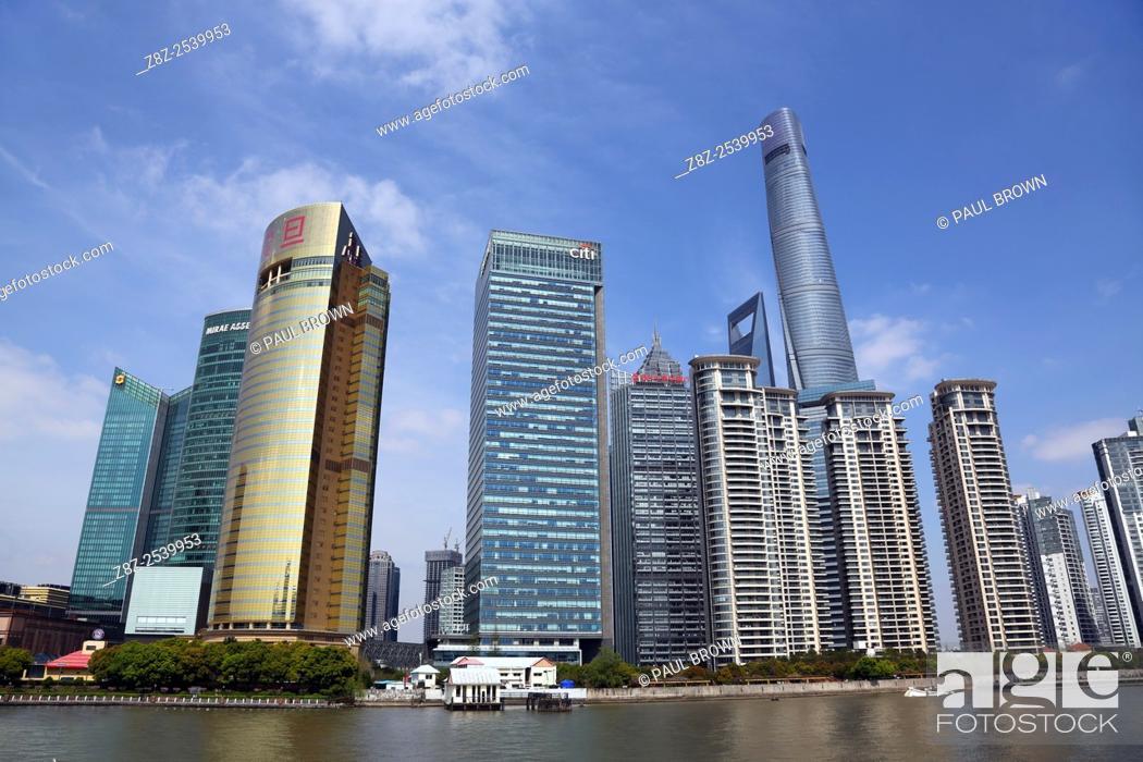 Stock Photo: City skyline of skyscrapers, Pudong, Shanghai, China.