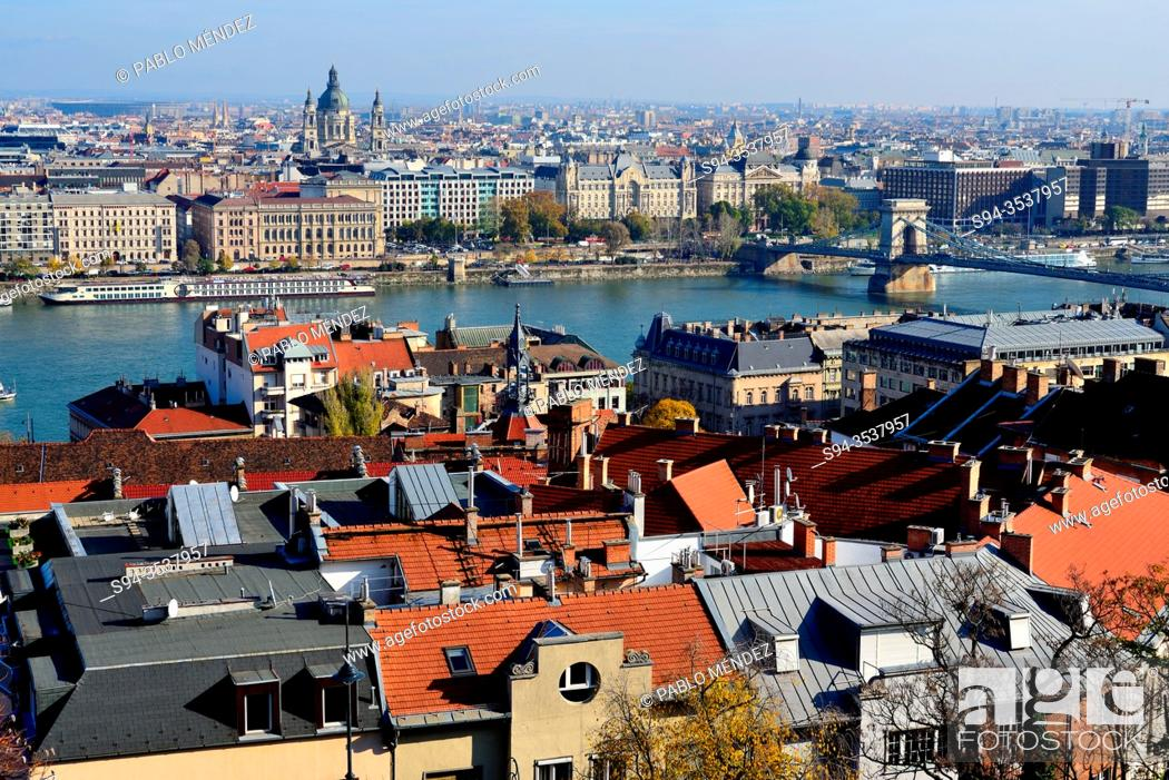 Stock Photo: View of the Pest area and Danube river from the Fisherman's Bastion of Budapest, Hungary.