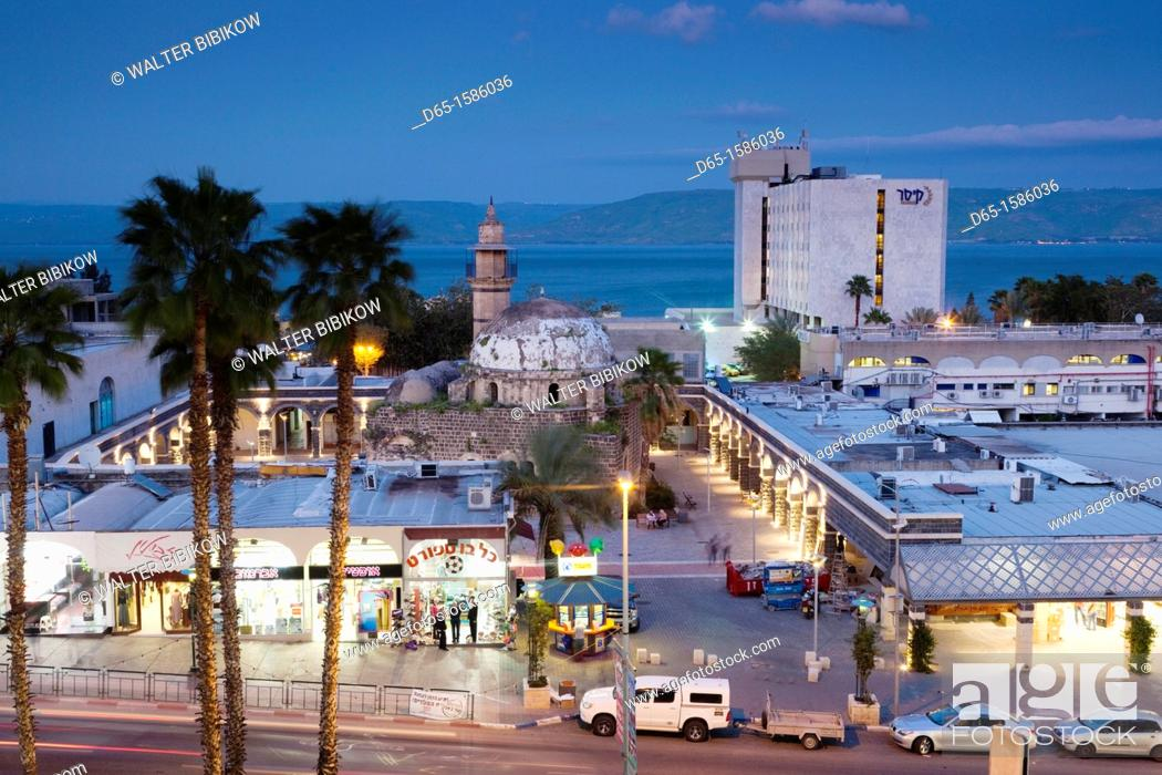 Stock Photo: Israel, The Galilee, Tiberias, elevated view of the Al-Amari Mosque, dusk.