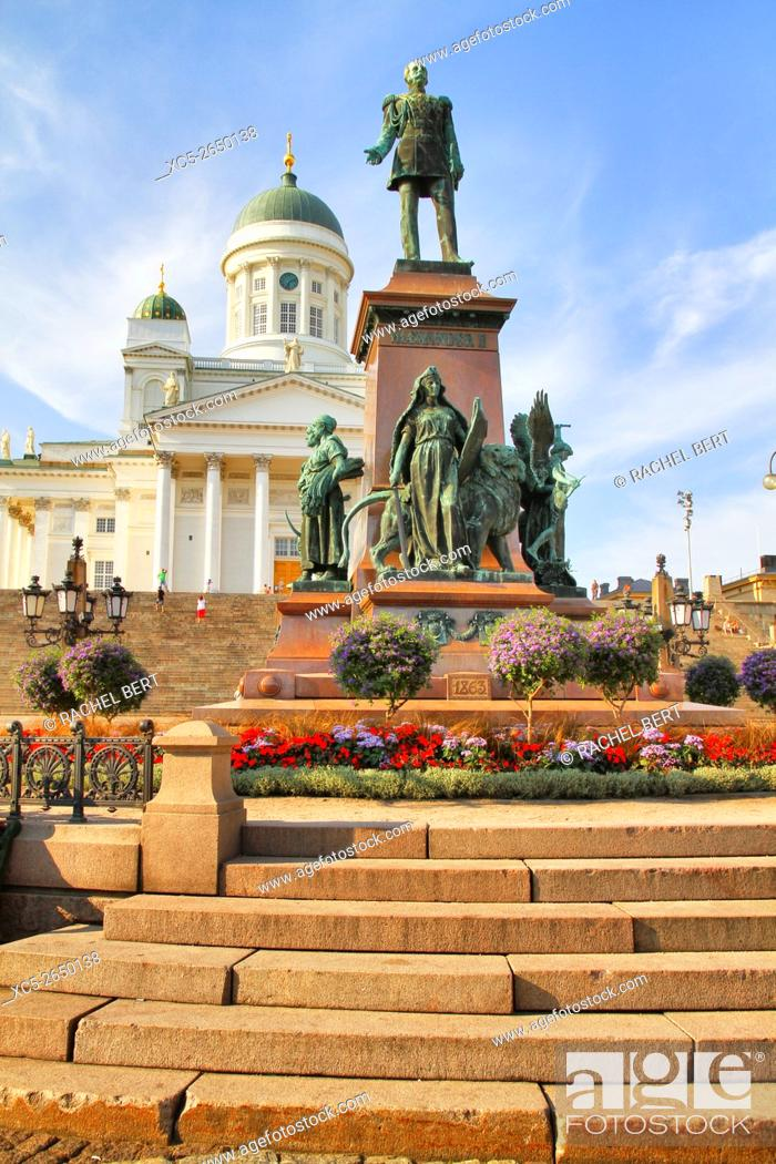 Stock Photo: Senate square with view of Alexander II memorial and Helsinki Cathedral, Helsinki, Finland.