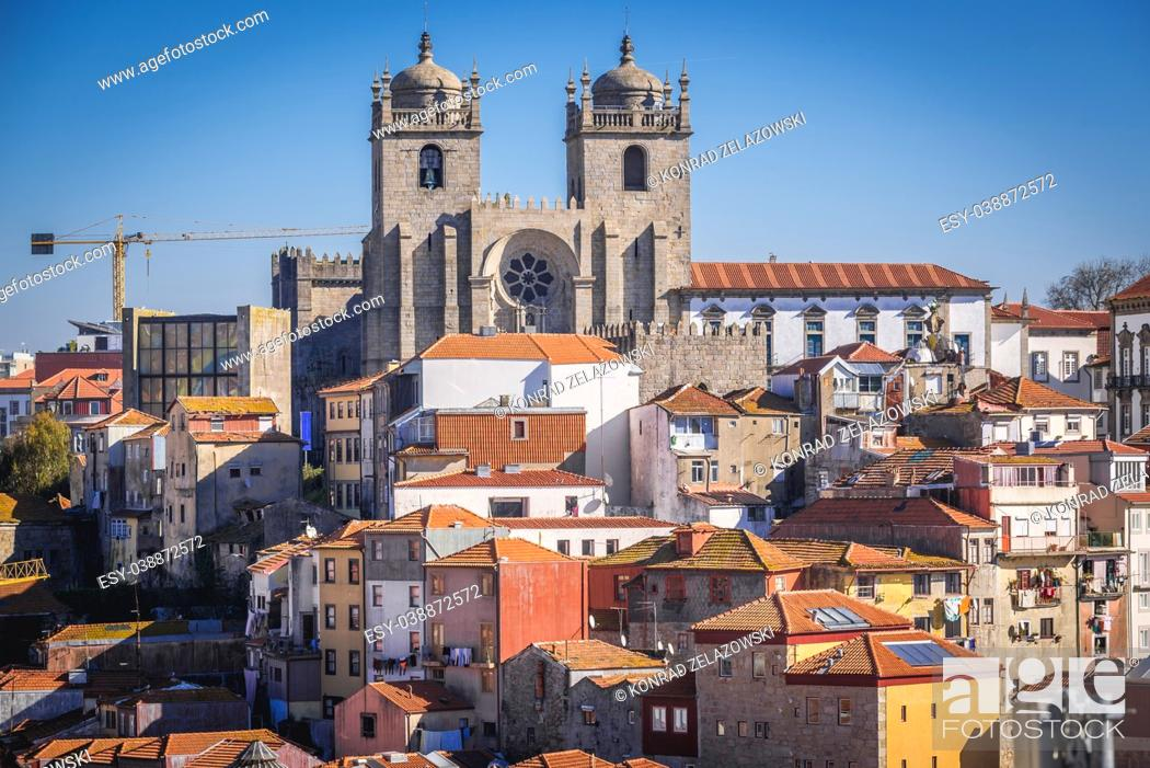 Stock Photo: Aerial view with Se Cathedral in Porto city on Iberian Peninsula, second largest city in Portugal.