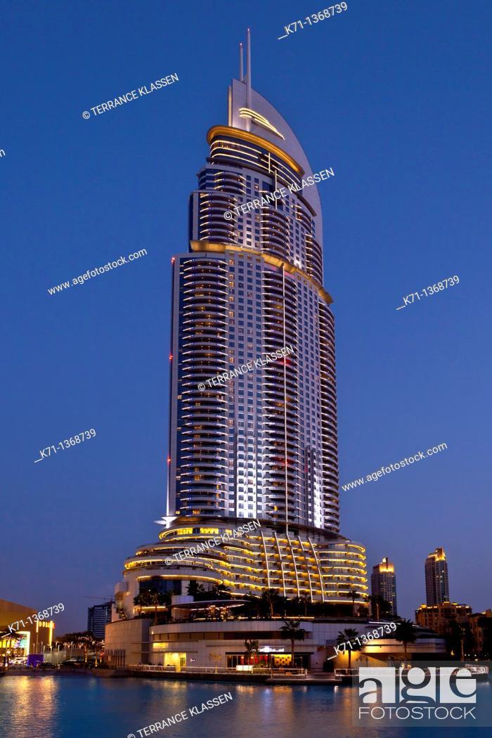 Stock Photo: The Lake Hotel near the Dubai Mall in Dubai, UAE.