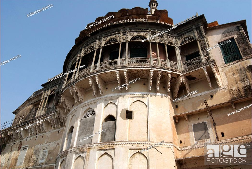 Stock Photo: Ramnagar Fort which was built in 1750AD by the Maharaja of Banaras ; is on the right bank of River Ganges at Varanasi ; or banaras ; (also known as Kashi) ;.