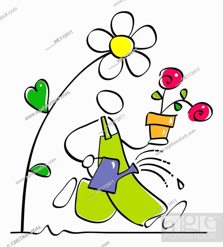 Stock Photo: gardener is watering the garden plants and flowers.