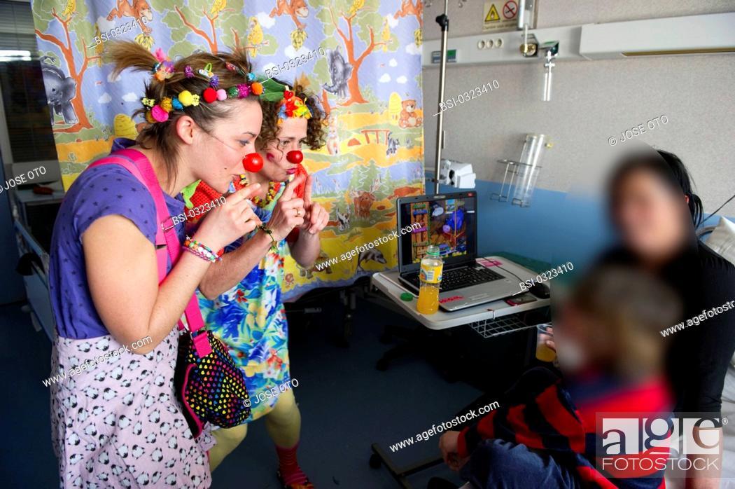 Stock Photo: Photo essay on the association 'The Clowns Stethoscopes' at the Children's hospital, University hospital of Bordeaux, France.