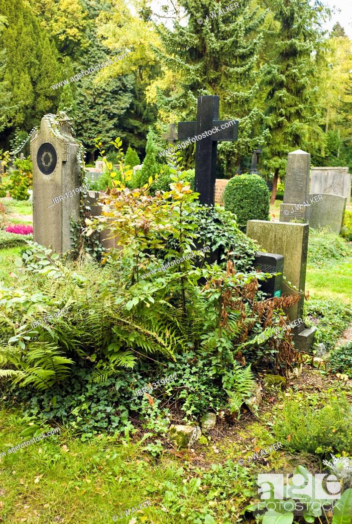 Stock Photo: Neglected grave, cemetery, Germany, Europe.