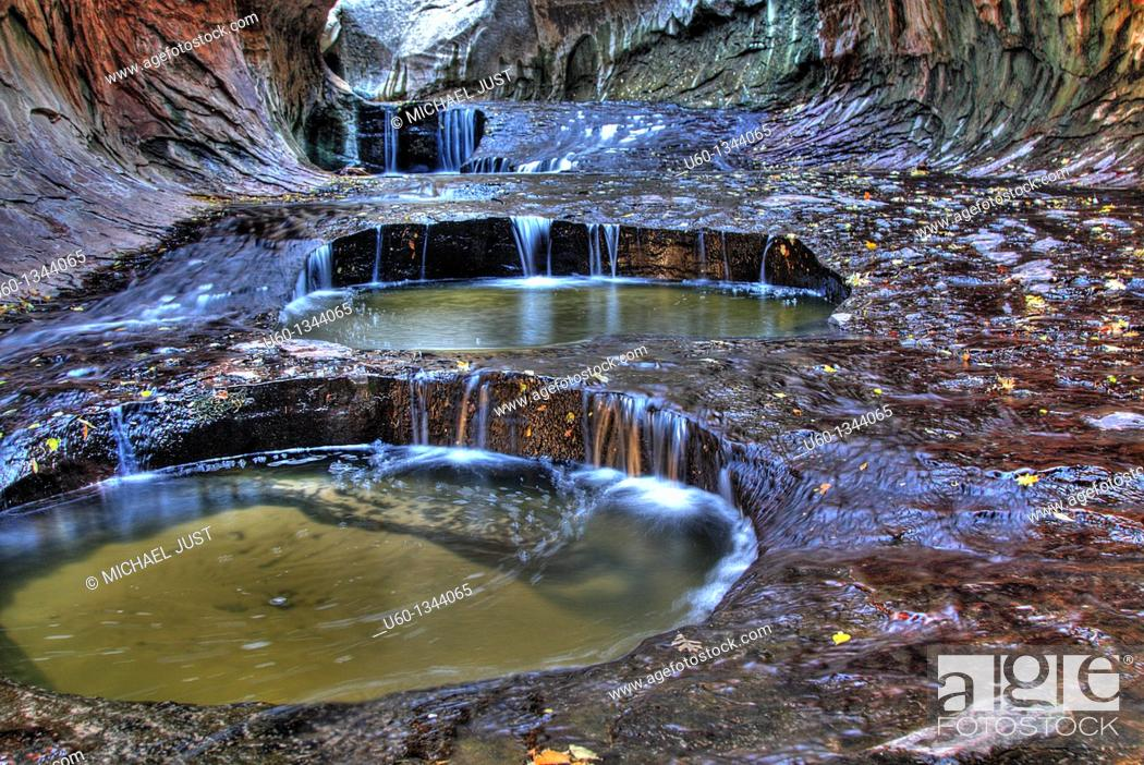 Stock Photo: Pools of dripping water in 'The Subway' along the left fork of North Creek at Zion National Park,Utah.
