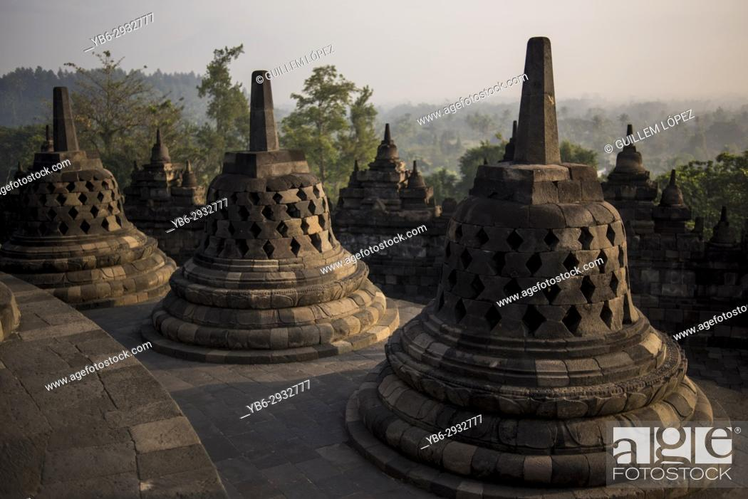 Stock Photo: Borobudor temple in Java, Indonesia.