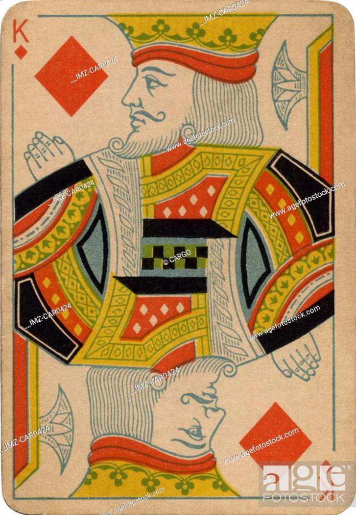 Stock Photo: King of Diamonds vintage playing card.