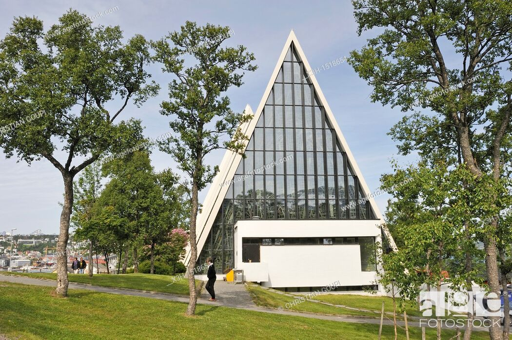 Stock Photo: the Tromsdalen Church known as The Arctic Cathedral Tromso County of Troms, Norway, Northern Europe.