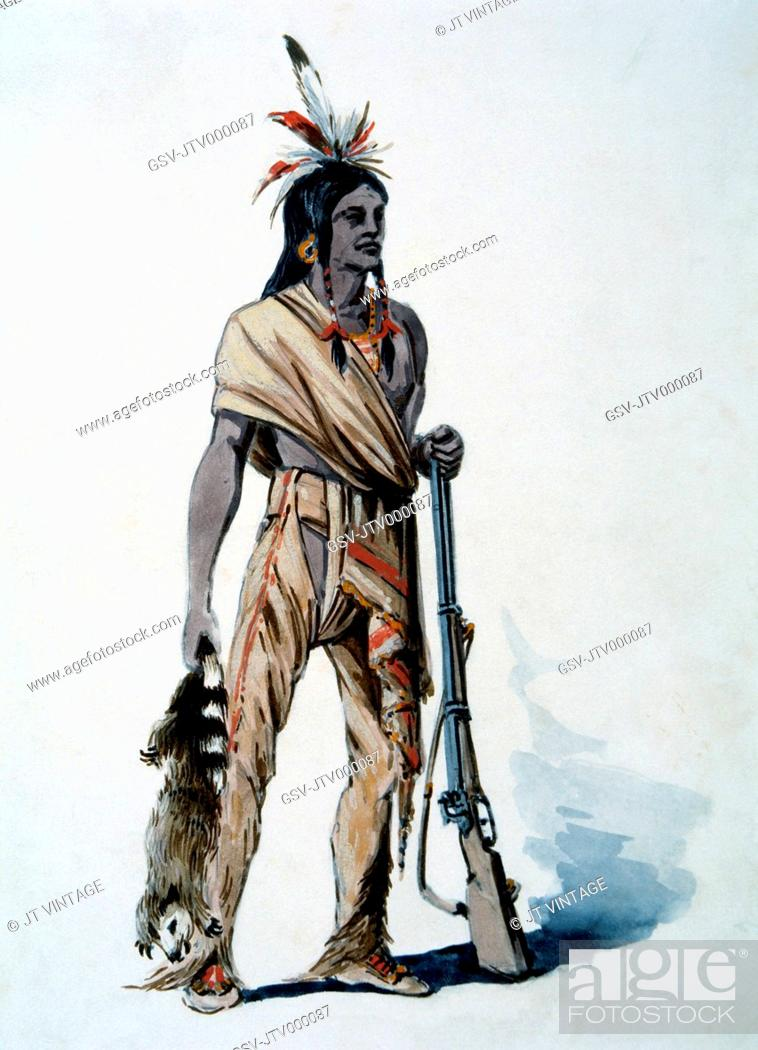 Stock Photo: Mohican Hunter with Fur, Watercolor Painting by William L. Wells fo the Columbian Exposition Pageant, 1892.