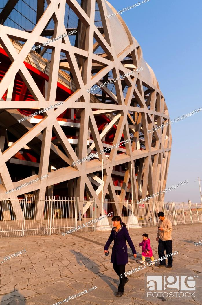 Stock Photo: Bird's Nest National Stadium by architects Herzog and De Meuron, 2008, Olympic Green, Beijing, China, Asia.