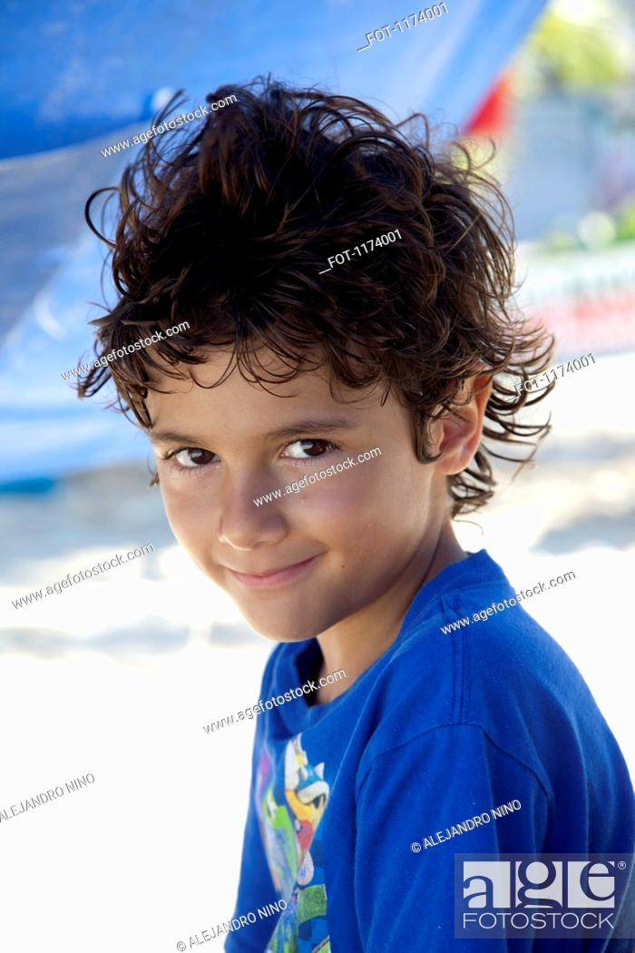Stock Photo: A boy at the beach, close-up.