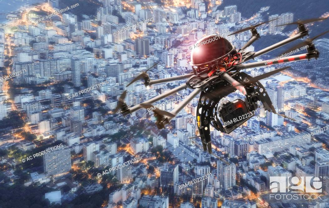 Stock Photo: Drone hovering over city, Rio De Janeiro, Brazil,.