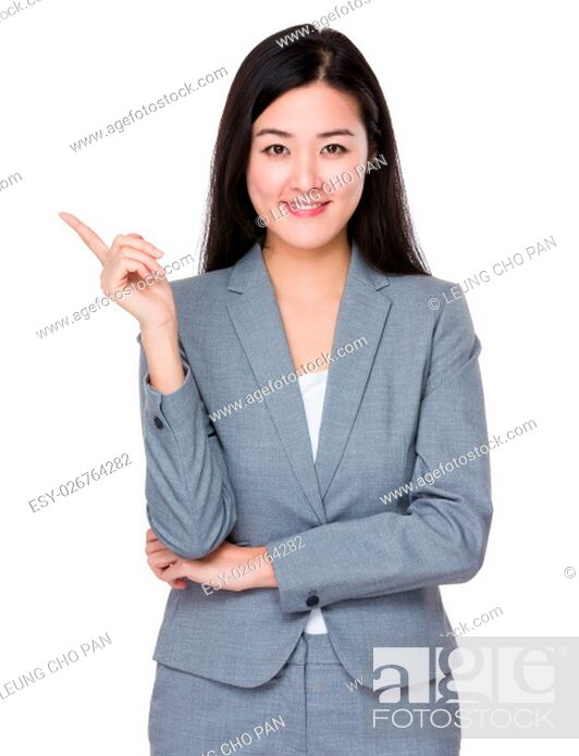 Stock Photo: Young businesswoman with finger point up.