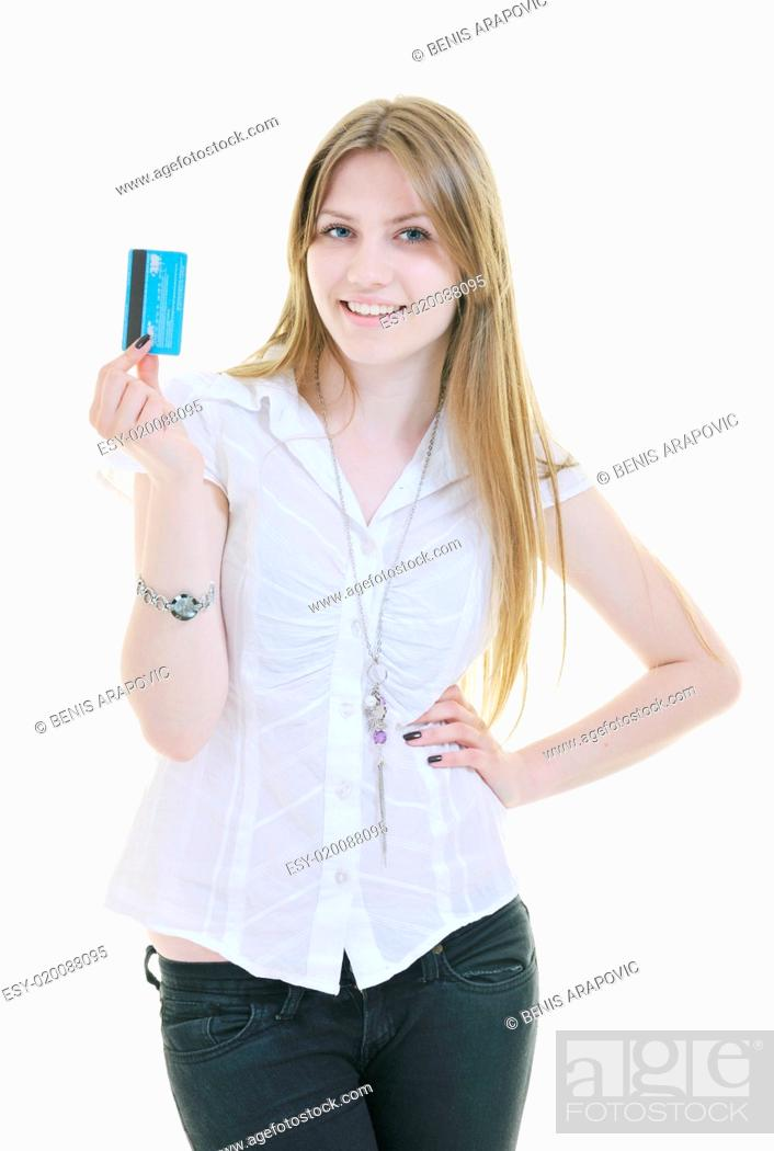Imagen: young woman hold credit card.