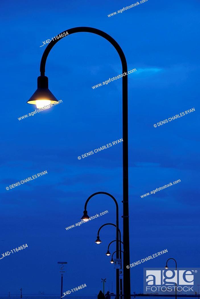 Stock Photo: Pier scene at night.