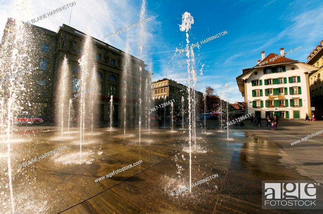 Stock Photo: Water fountains in Bundesplatz, Bern, Canton Bern, Switzerland.