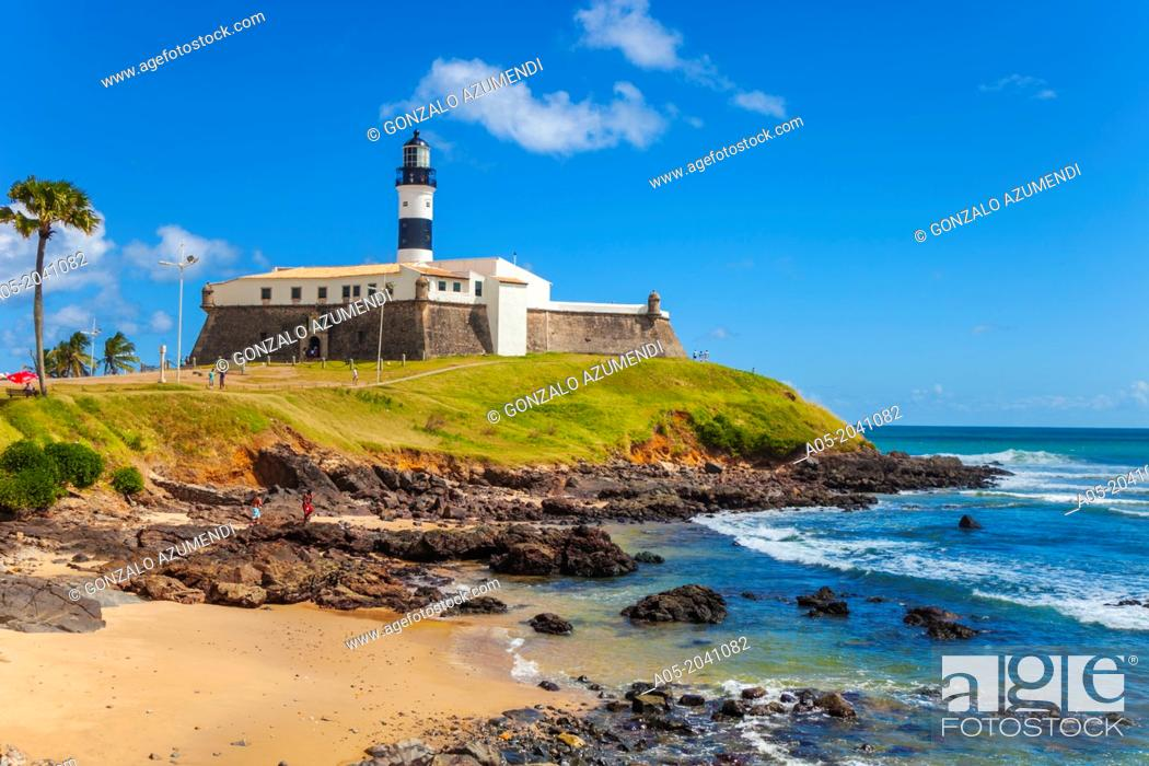 Stock Photo: Farol da Barra lighthouse, Salvador, Bahia, Brazil.