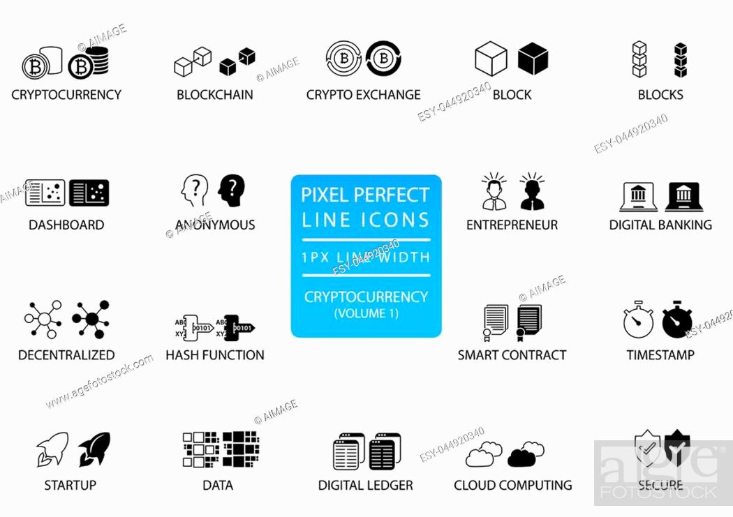 Stock Vector: Cryptocurrency (bitcoin, ethereum) thin line vector icon set. Pixel perfect icons with 1 px line width for optimal app and web usage.