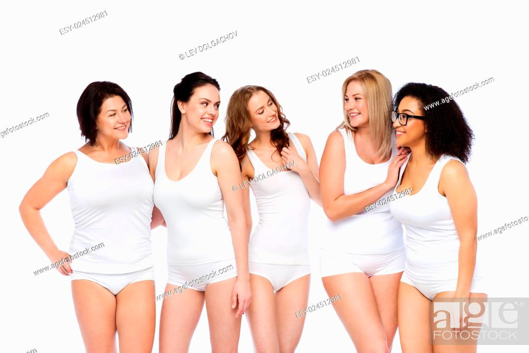 Stock Photo: friendship, beauty, body positive and people concept - group of happy women different in white underwear.