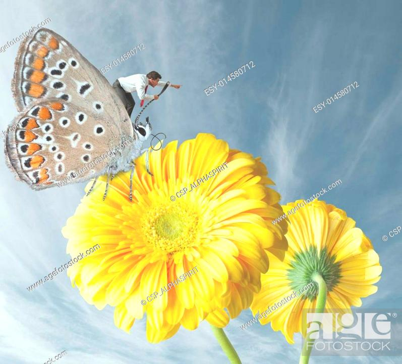 Stock Photo: Businessman escapes with a butterfly.