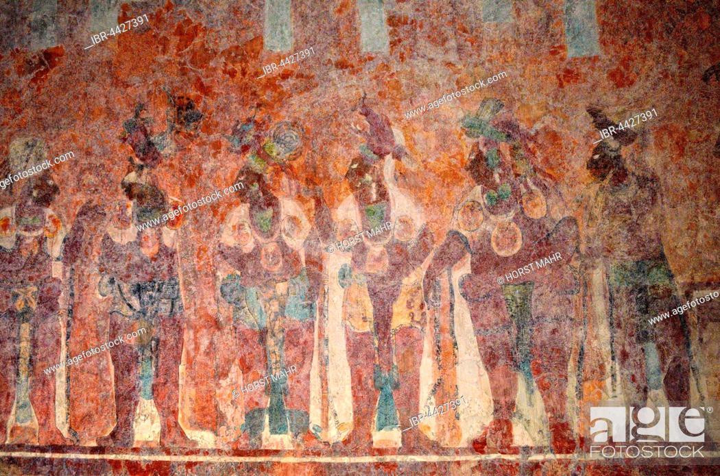 Original Mural In Temple Templo De Las Pinturas Ancient Maya