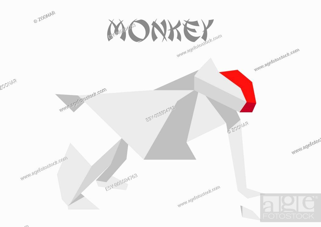 Stock Photo: origami monkey.