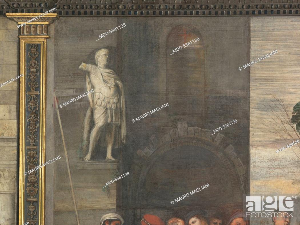Imagen: The Miracle of the Newborn Child (Miracolo del neonato), by Titian, 1511, 16th Century, fresco, 340 x 355 cm.