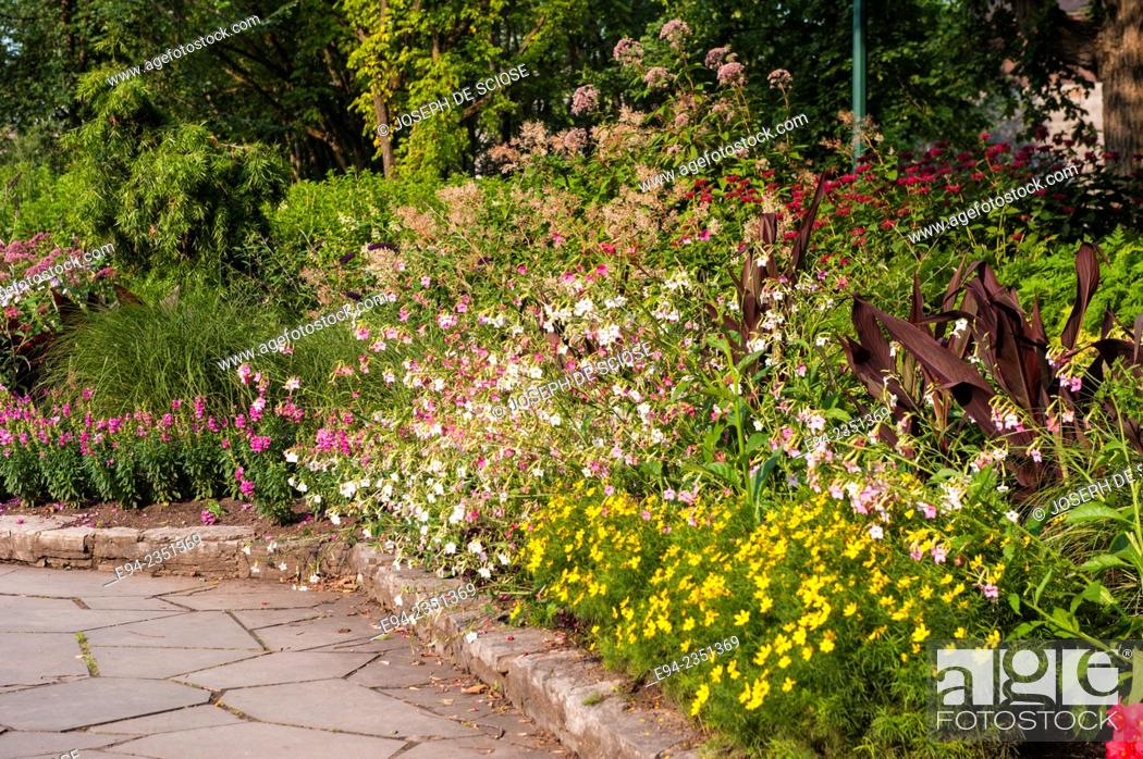 Stock Photo: A Mixed Flower Bed In The Joan Of Arc Garden, Quebec City