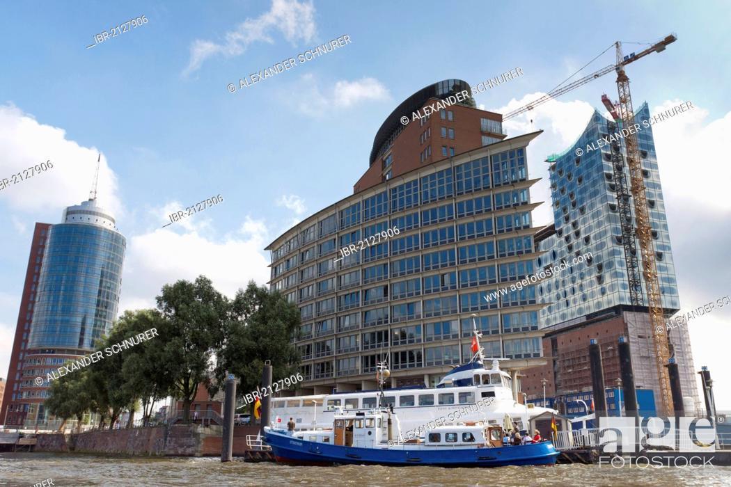 Stock Photo: Elbphilharmonie Hamburg concert hall seen from the Elbe River, Hamburg, Germany, Europe.