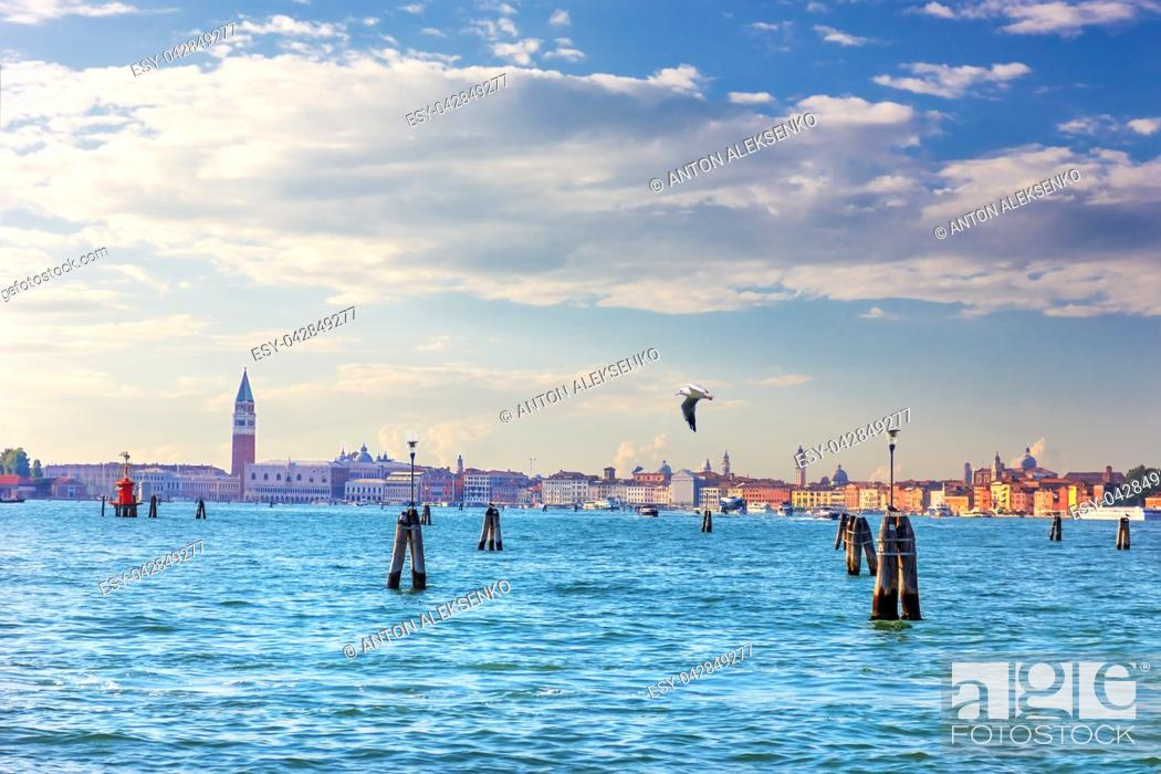 Stock Photo: San Marco Square, Doge's palace and other sights of Venice, view from the lagoon and piers.