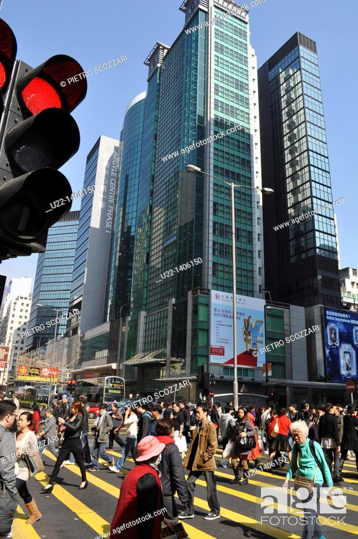 Stock Photo: Hong Kong: people crossing Nathan Road in Prince Edwards area (Kowloon).