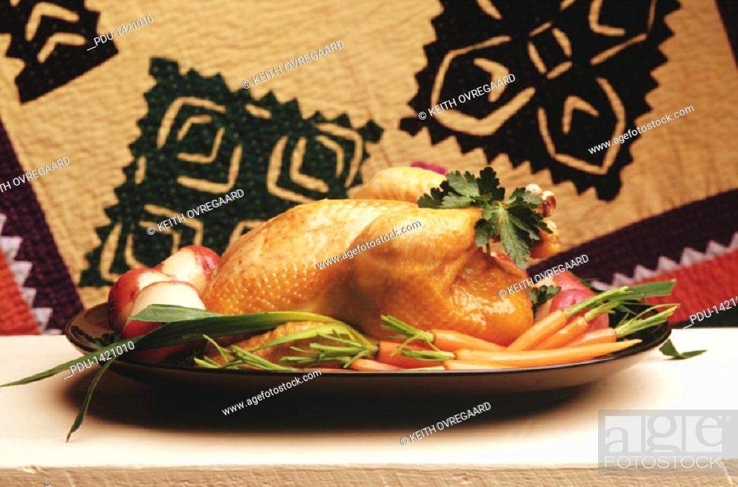 Stock Photo: Whole Chicken on Platter.