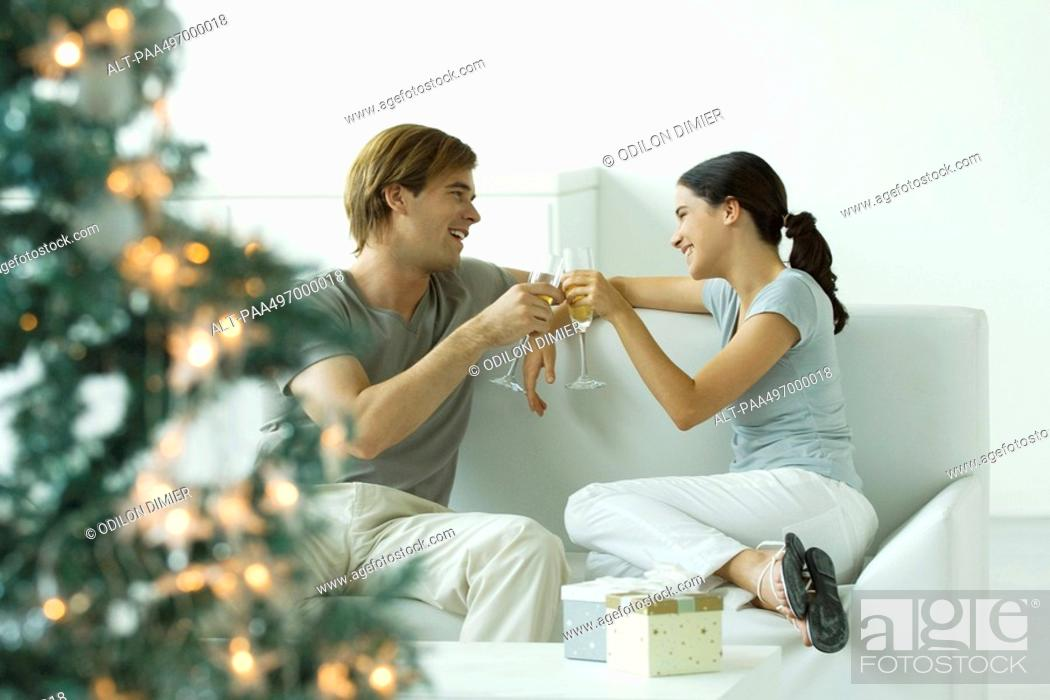 Stock Photo: Couple making a toast with champagne, Christmas tree in foreground.