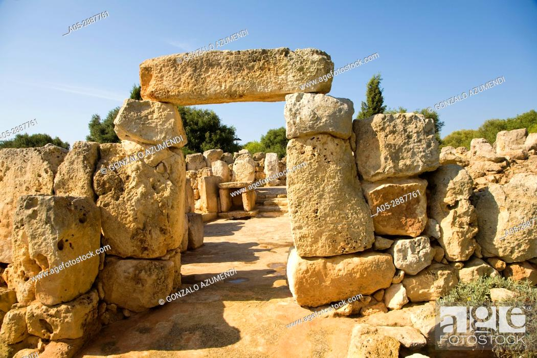 Stock Photo: Binaparratxet Petit. Archeologic site from about 9th century B. C. Mahon airport. Situated at the south departure point of the runway. Menorca.