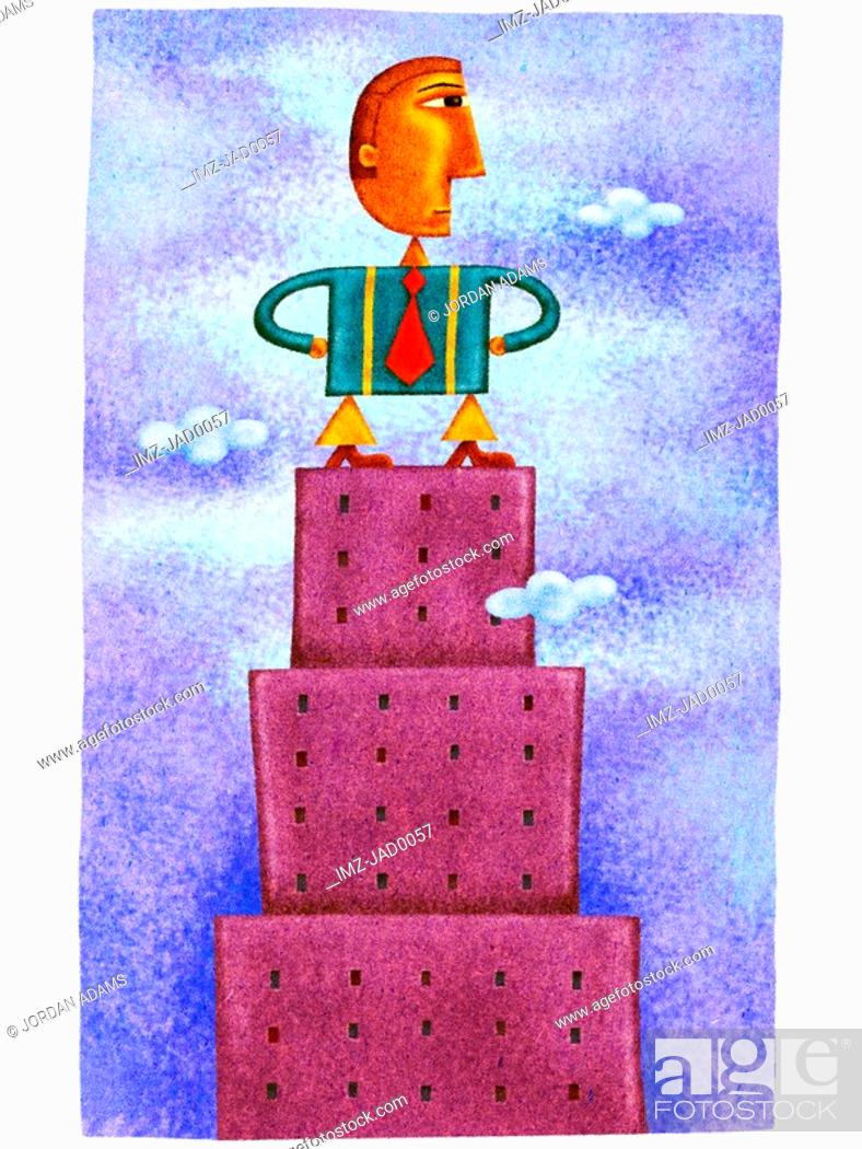 Stock Photo: A businessman standing on top of a tall building.