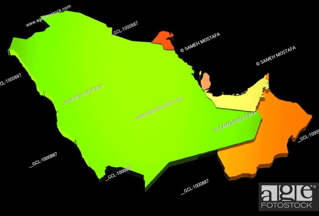 Imagen: map of Saudi Arabia, Oman, UAE Qatar, Kuwait and Bahrain.