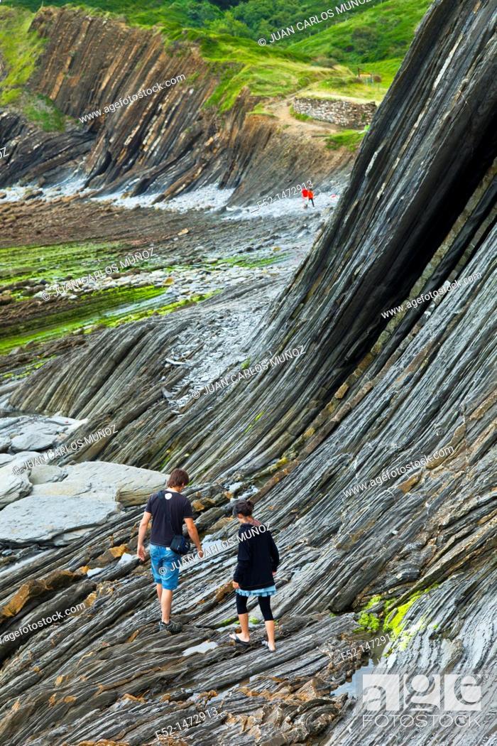 Stock Photo: Flysch, Sakoneta beach, Deva, Gipuzkoa, The Basque Country, The Bay of Byscay, Spain, Europe.