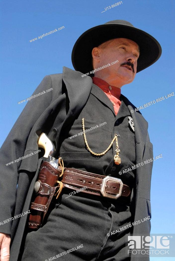 Stock Photo: Actor Dressed as Wyatt Earp, Bisbee, Arizona, United States.