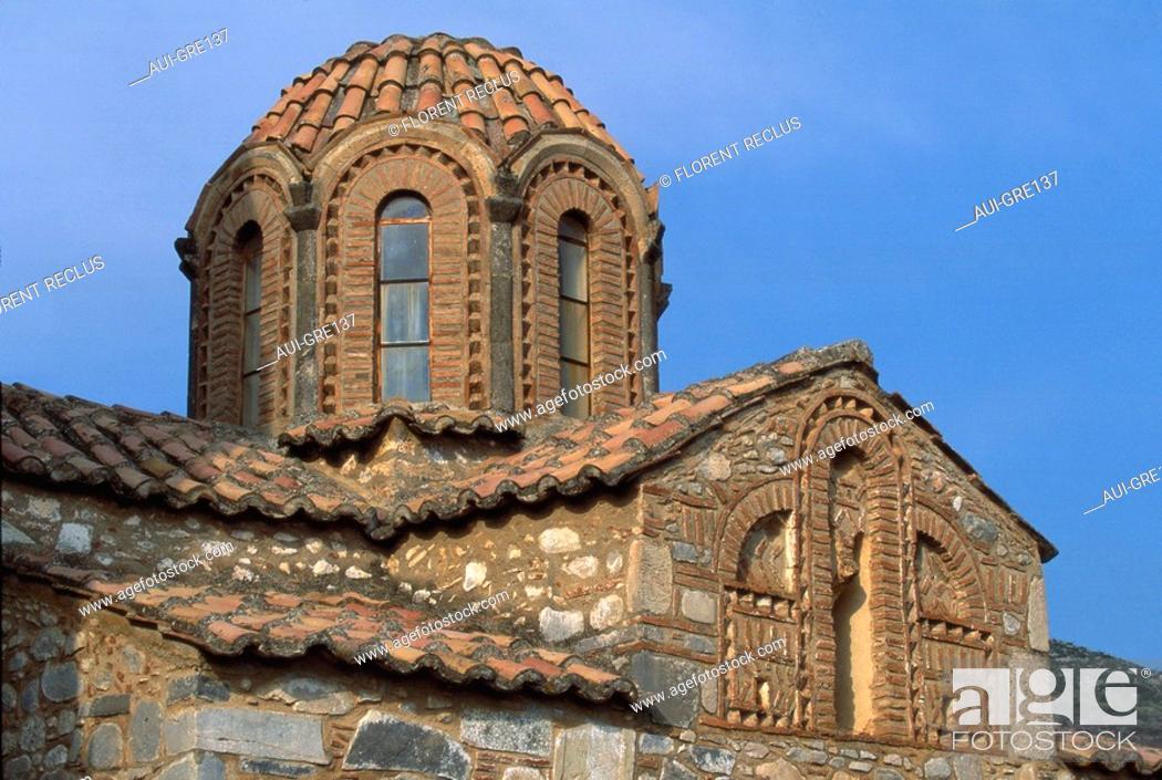Stock Photo: Greece - Peloponnese - Gevaki - St Athanaze Chapel.