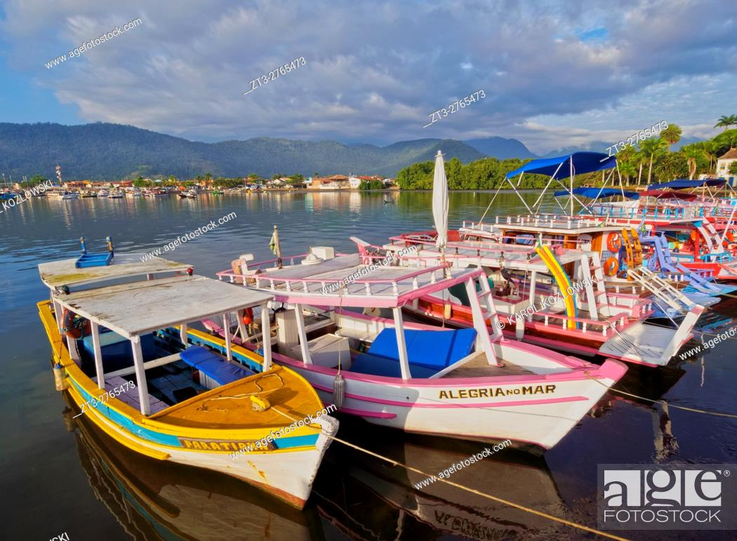Stock Photo: Brazil, State of Rio de Janeiro, View of the colourful boats in Paraty.