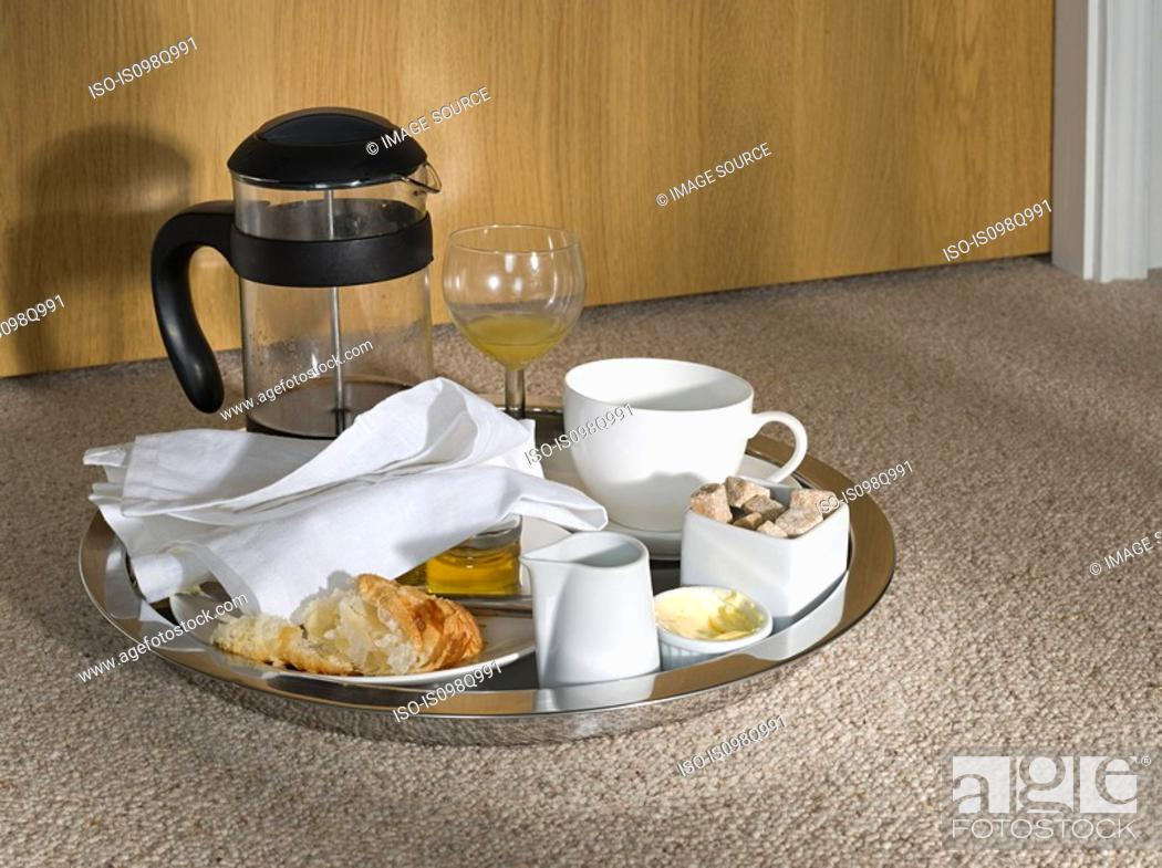 Stock Photo: Food tray outside a hotel room.