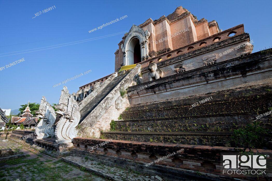 Stock Photo: Large central stupa or chedi, Wat Chedi Luang, Chiang Mai, Thailand.