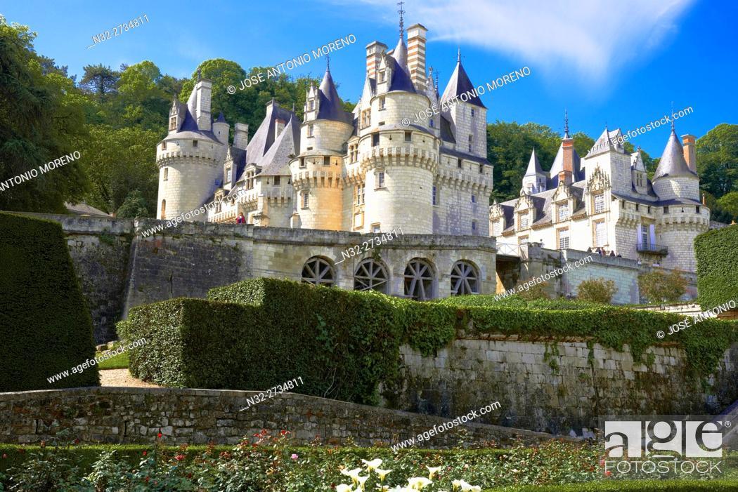 Stock Photo: Rigny-Usse, Castle, Chateau de Usse, Usse Castle, Indre-et-Loire, Cycling Itinerary, Pays de la Loire, Loire Valley, UNESCO World Heritage Site, France.