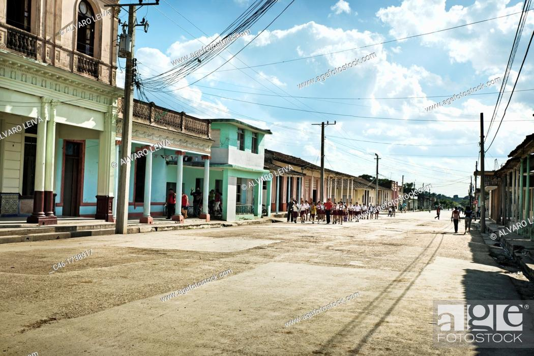Stock Photo: Street, Placetas, Santa Clara province, Cuba.